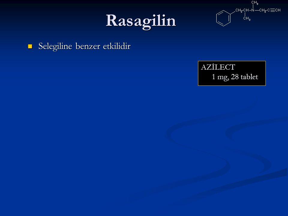 Rasagilin AZİLECT 1 mg, 28 tablet Selegiline benzer etkilidir Selegiline benzer etkilidir