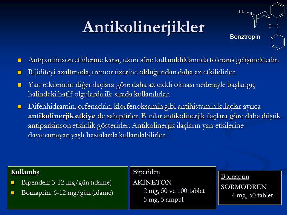 Antikolinerjikler Antiparkinson etkilerine karşı, uzun süre kullanıldıklarında tolerans gelişmektedir. Antiparkinson etkilerine karşı, uzun süre kulla