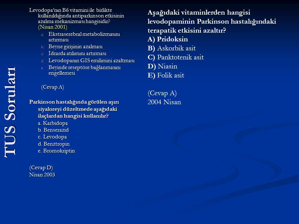 TUS Soruları Levodopa'nın B6 vitamini ile birlikte kullanıldığında antiparkinson etkisinin azalma mekanizması hangisidir? (Nisan 2001) a) Ekstraserebr