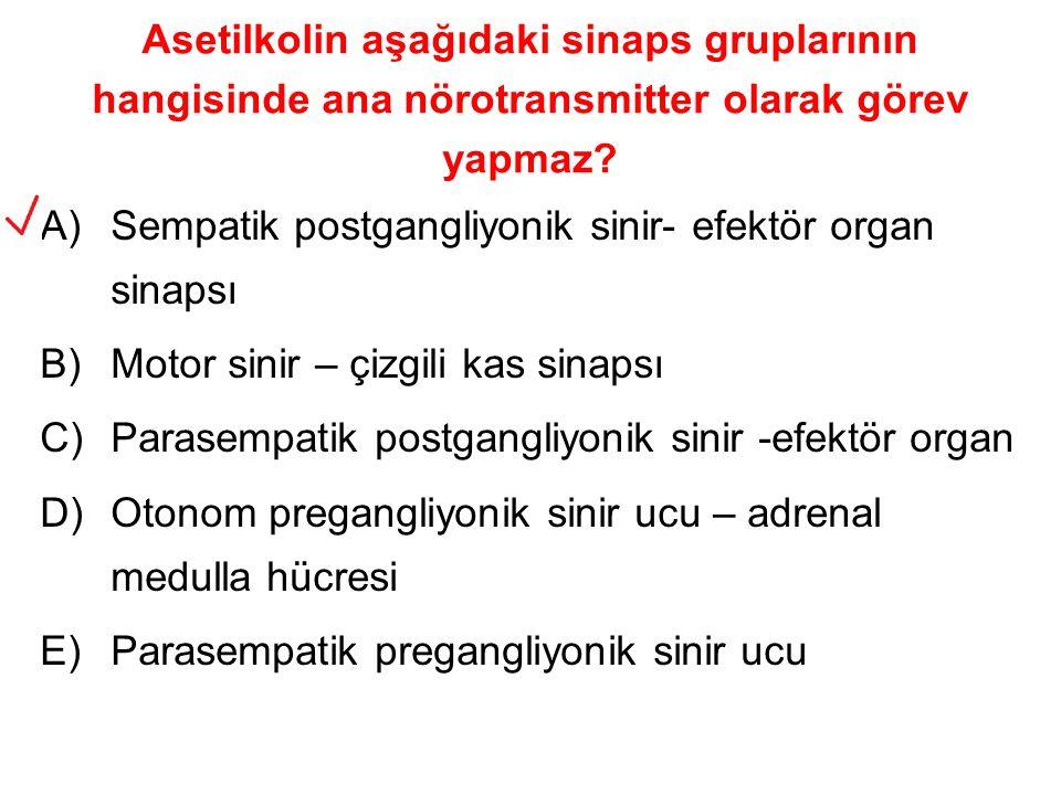 Asetilkolin aşağıdaki sinaps gruplarının hangisinde ana nörotransmitter olarak görev yapmaz? A)Sempatik postgangliyonik sinir- efektör organ sinapsı B