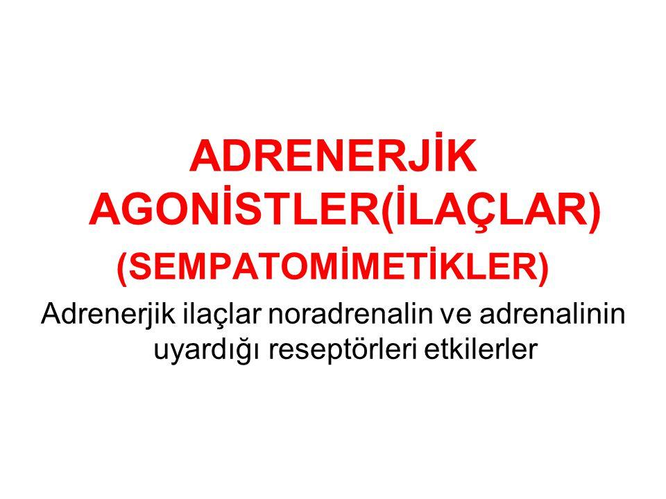 ADRENERJİK AGONİSTLER(İLAÇLAR) (SEMPATOMİMETİKLER) Adrenerjik ilaçlar noradrenalin ve adrenalinin uyardığı reseptörleri etkilerler