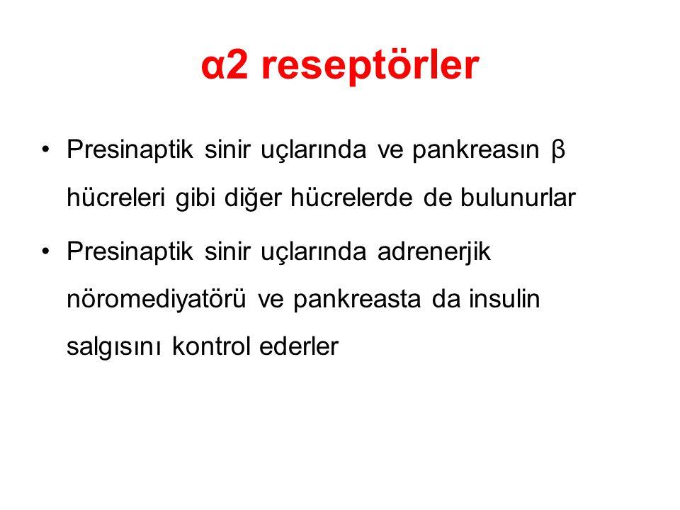 α2 reseptörler Presinaptik sinir uçlarında ve pankreasın β hücreleri gibi diğer hücrelerde de bulunurlar Presinaptik sinir uçlarında adrenerjik nörome