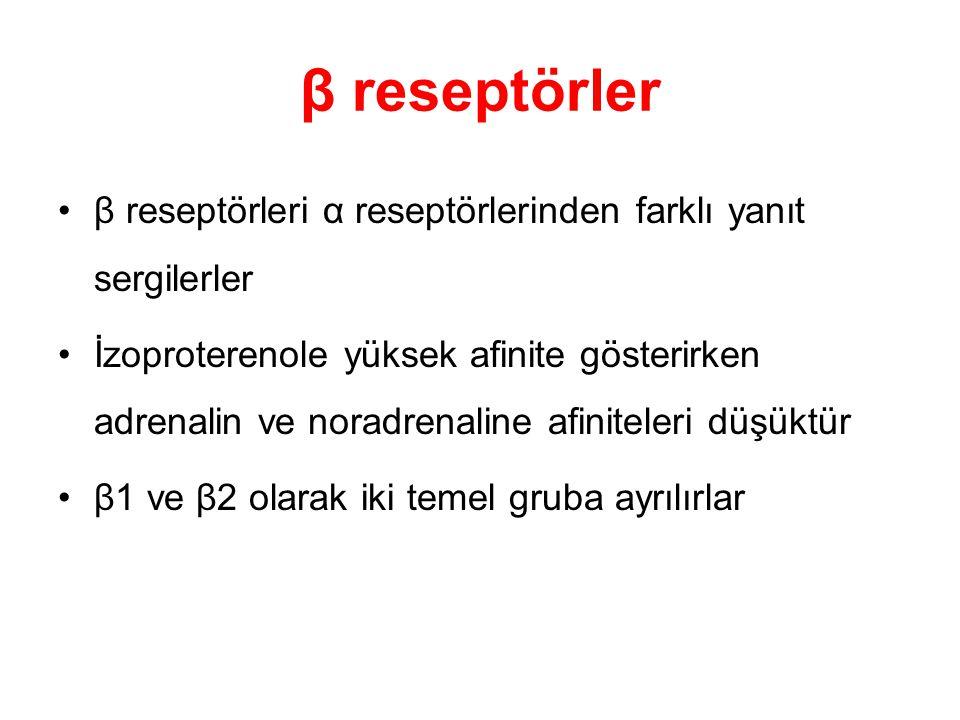 β reseptörler β reseptörleri α reseptörlerinden farklı yanıt sergilerler İzoproterenole yüksek afinite gösterirken adrenalin ve noradrenaline afinitel