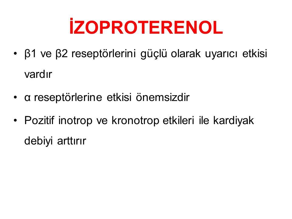 İZOPROTERENOL β1 ve β2 reseptörlerini güçlü olarak uyarıcı etkisi vardır α reseptörlerine etkisi önemsizdir Pozitif inotrop ve kronotrop etkileri ile