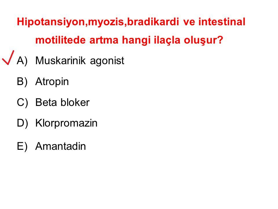 Hipotansiyon,myozis,bradikardi ve intestinal motilitede artma hangi ilaçla oluşur.
