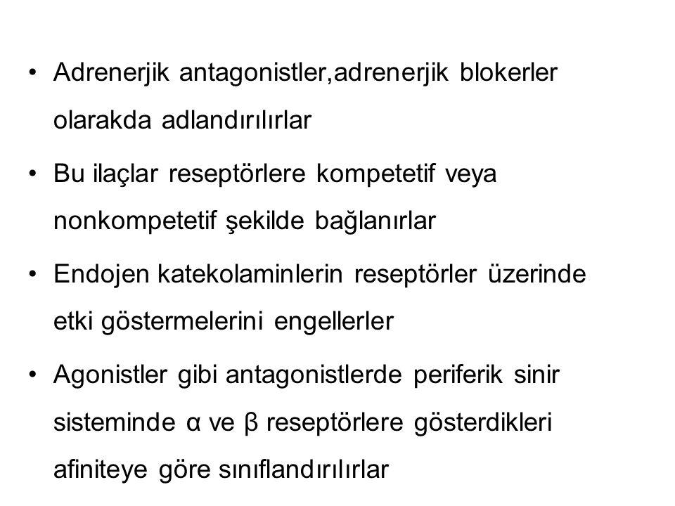 Adrenerjik antagonistler,adrenerjik blokerler olarakda adlandırılırlar Bu ilaçlar reseptörlere kompetetif veya nonkompetetif şekilde bağlanırlar Endojen katekolaminlerin reseptörler üzerinde etki göstermelerini engellerler Agonistler gibi antagonistlerde periferik sinir sisteminde α ve β reseptörlere gösterdikleri afiniteye göre sınıflandırılırlar
