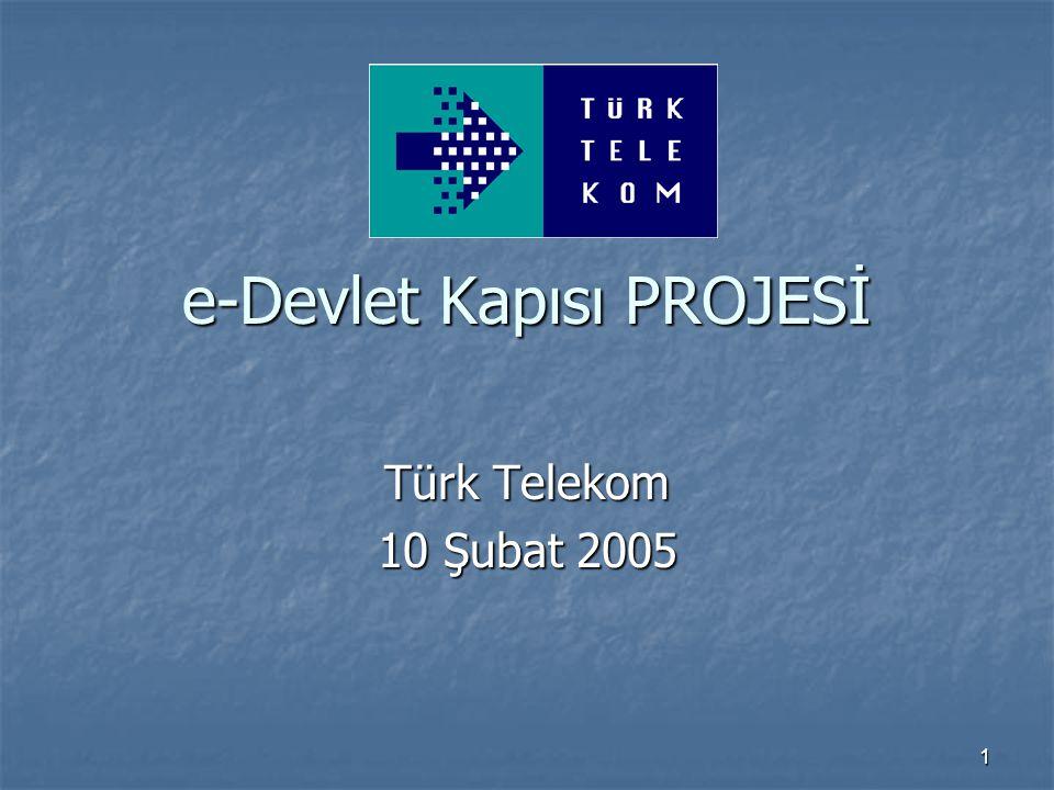 1 e-Devlet Kapısı PROJESİ Türk Telekom 10 Şubat 2005