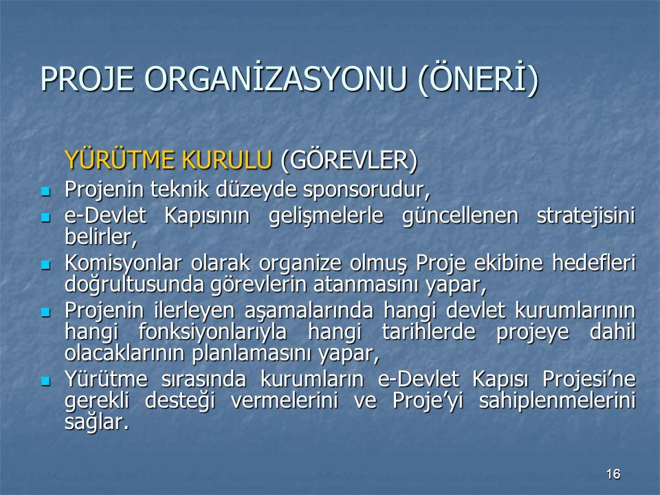 16 PROJE ORGANİZASYONU (ÖNERİ) YÜRÜTME KURULU (GÖREVLER) Projenin teknik düzeyde sponsorudur, Projenin teknik düzeyde sponsorudur, e-Devlet Kapısının gelişmelerle güncellenen stratejisini belirler, e-Devlet Kapısının gelişmelerle güncellenen stratejisini belirler, Komisyonlar olarak organize olmuş Proje ekibine hedefleri doğrultusunda görevlerin atanmasını yapar, Komisyonlar olarak organize olmuş Proje ekibine hedefleri doğrultusunda görevlerin atanmasını yapar, Projenin ilerleyen aşamalarında hangi devlet kurumlarının hangi fonksiyonlarıyla hangi tarihlerde projeye dahil olacaklarının planlamasını yapar, Projenin ilerleyen aşamalarında hangi devlet kurumlarının hangi fonksiyonlarıyla hangi tarihlerde projeye dahil olacaklarının planlamasını yapar, Yürütme sırasında kurumların e-Devlet Kapısı Projesi'ne gerekli desteği vermelerini ve Proje'yi sahiplenmelerini sağlar.