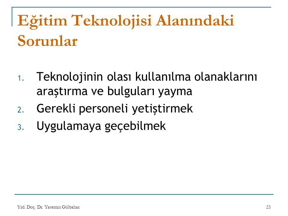 Yrd. Doç. Dr. Yasemin Gülbahar25 Eğitim Teknolojisi Alanındaki Sorunlar 1. Teknolojinin olası kullanılma olanaklarını araştırma ve bulguları yayma 2.