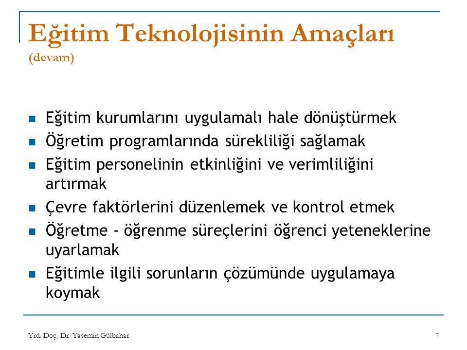 Yrd. Doç. Dr. Yasemin Gülbahar7 Eğitim Teknolojisinin Amaçları (devam) Eğitim kurumlarını uygulamalı hale dönüştürmek Öğretim programlarında süreklili