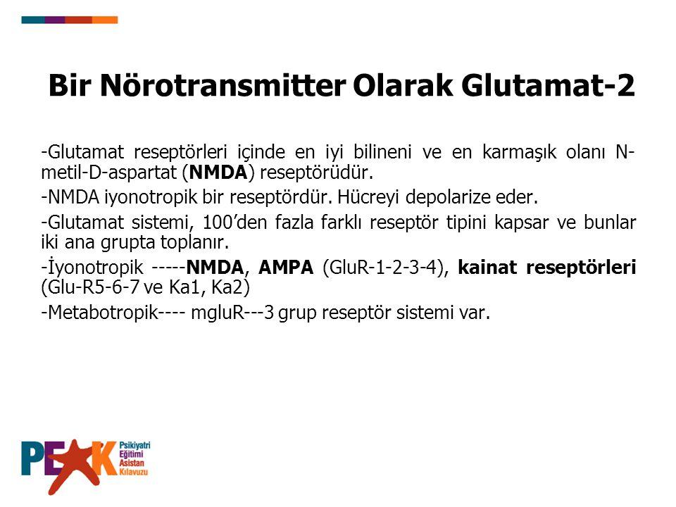 Bir Nörotransmitter Olarak Glutamat-2 -Glutamat reseptörleri içinde en iyi bilineni ve en karmaşık olanı N- metil-D-aspartat (NMDA) reseptörüdür. -NMD