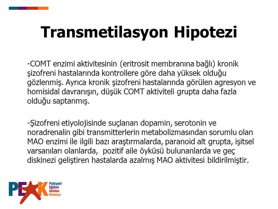 Transmetilasyon Hipotezi -COMT enzimi aktivitesinin (eritrosit membranına bağlı) kronik şizofreni hastalarında kontrollere göre daha yüksek olduğu göz