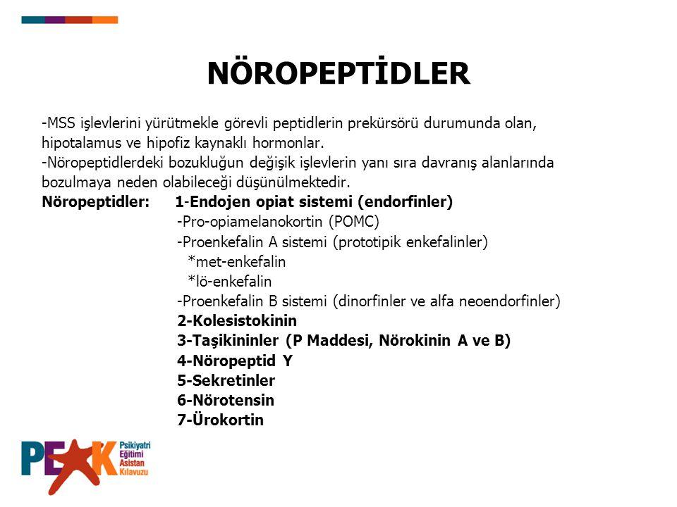 NÖROPEPTİDLER -MSS işlevlerini yürütmekle görevli peptidlerin prekürsörü durumunda olan, hipotalamus ve hipofiz kaynaklı hormonlar. -Nöropeptidlerdeki