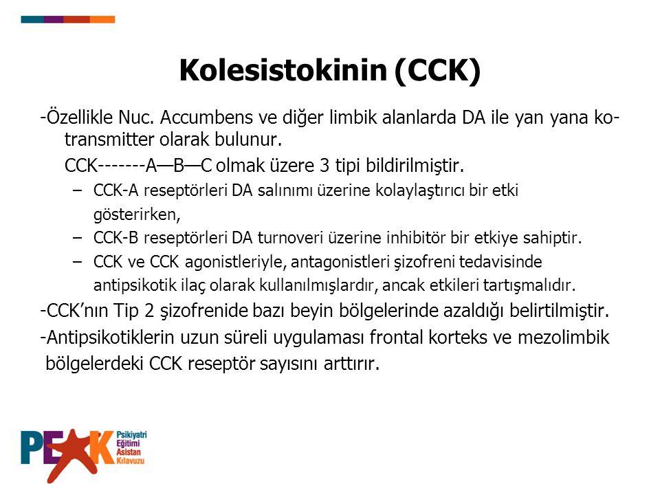 Kolesistokinin (CCK) -Özellikle Nuc. Accumbens ve diğer limbik alanlarda DA ile yan yana ko- transmitter olarak bulunur. CCK-------A—B—C olmak üzere 3
