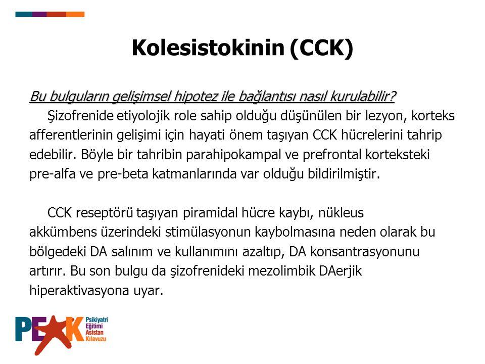 Kolesistokinin (CCK) Bu bulguların gelişimsel hipotez ile bağlantısı nasıl kurulabilir? Şizofrenide etiyolojik role sahip olduğu düşünülen bir lezyon,
