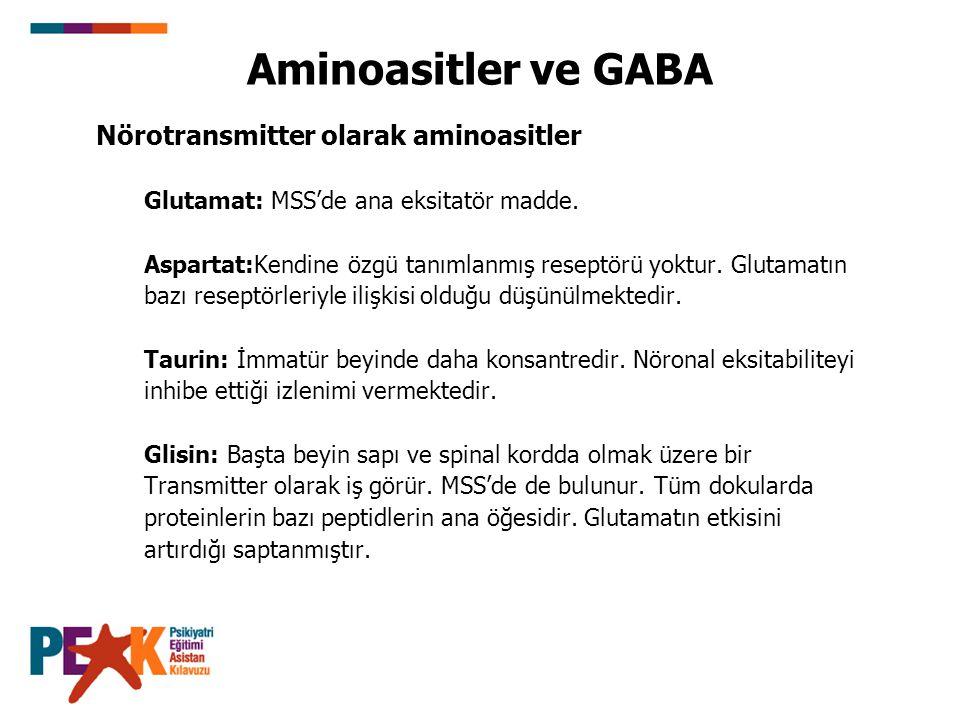 Aminoasitler ve GABA Nörotransmitter olarak aminoasitler Glutamat: MSS'de ana eksitatör madde. Aspartat:Kendine özgü tanımlanmış reseptörü yoktur. Glu