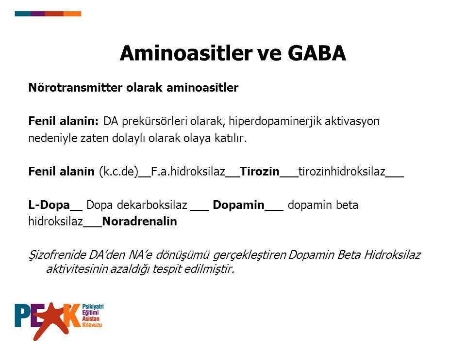 Aminoasitler ve GABA Nörotransmitter olarak aminoasitler Fenil alanin: DA prekürsörleri olarak, hiperdopaminerjik aktivasyon nedeniyle zaten dolaylı o