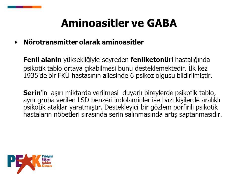 Aminoasitler ve GABA Nörotransmitter olarak aminoasitler Fenil alanin yüksekliğiyle seyreden fenilketonüri hastalığında psikotik tablo ortaya çıkabilm