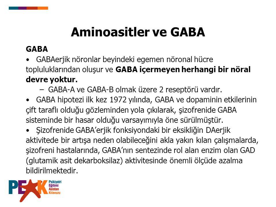 Aminoasitler ve GABA GABA GABAerjik nöronlar beyindeki egemen nöronal hücre topluluklarından oluşur ve GABA içermeyen herhangi bir nöral devre yoktur.