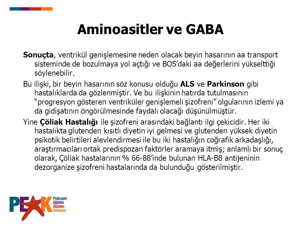 Aminoasitler ve GABA Sonuçta, ventrikül genişlemesine neden olacak beyin hasarının aa transport sisteminde de bozulmaya yol açtığı ve BOS'daki aa değe