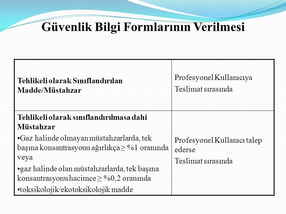 Güvenlik Bilgi Formlarının Yapısı : Formun 1.