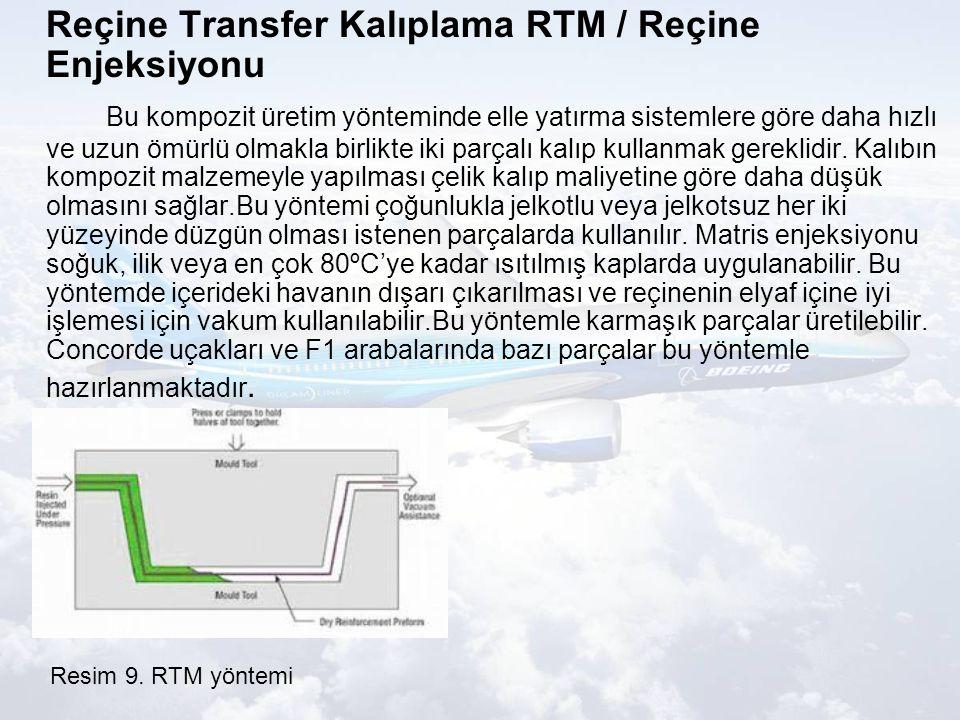 Reçine Transfer Kalıplama RTM / Reçine Enjeksiyonu Bu kompozit üretim yönteminde elle yatırma sistemlere göre daha hızlı ve uzun ömürlü olmakla birlikte iki parçalı kalıp kullanmak gereklidir.