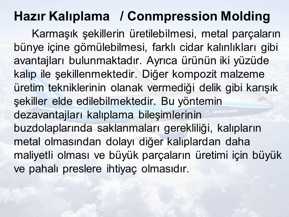Hazır Kalıplama / Conmpression Molding Karmaşık şekillerin üretilebilmesi, metal parçaların bünye içine gömülebilmesi, farklı cidar kalınlıkları gibi avantajları bulunmaktadır.