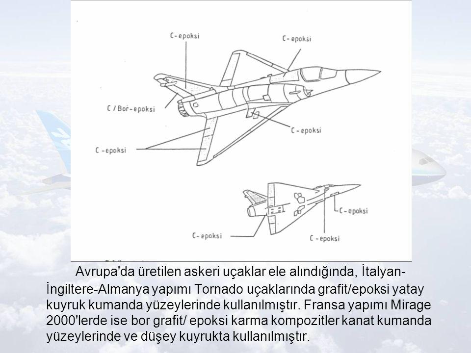Avrupa da üretilen askeri uçaklar ele alındığında, İtalyan- İngiltere-Almanya yapımı Tornado uçaklarında grafit/epoksi yatay kuyruk kumanda yüzeylerinde kullanılmıştır.