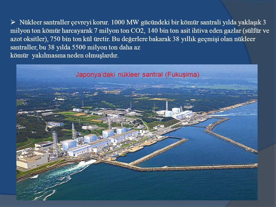  Nükleer santraller çevreyi korur. 1000 MW gücündeki bir kömür santrali yılda yaklaşık 3 milyon ton kömür harcayarak 7 milyon ton CO2, 140 bin ton as