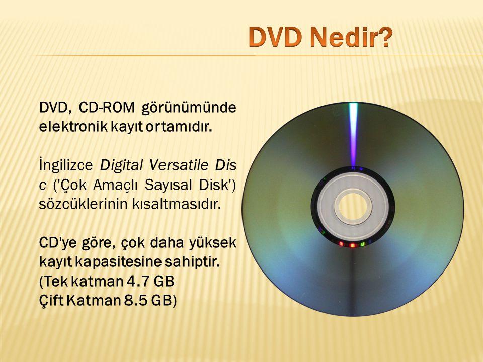 DVD, CD-ROM görünümünde elektronik kayıt ortamıdır. İngilizce Digital Versatile Dis c ('Çok Amaçlı Sayısal Disk') sözcüklerinin kısaltmasıdır. CD'ye g