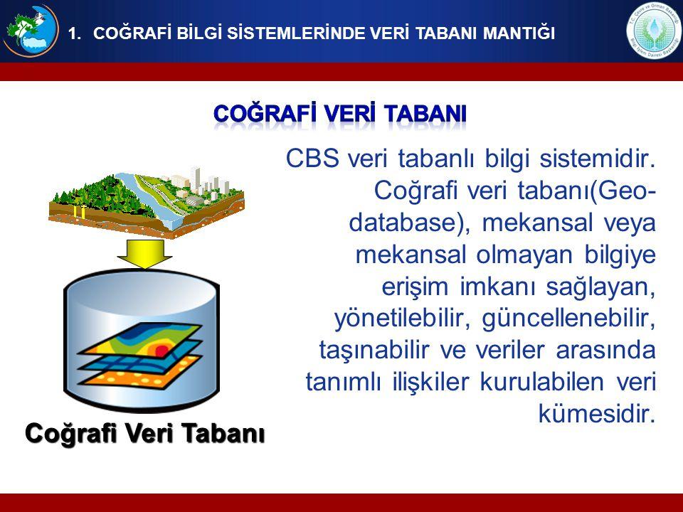 CBS veri tabanlı bilgi sistemidir. Coğrafi veri tabanı(Geo- database), mekansal veya mekansal olmayan bilgiye erişim imkanı sağlayan, yönetilebilir, g