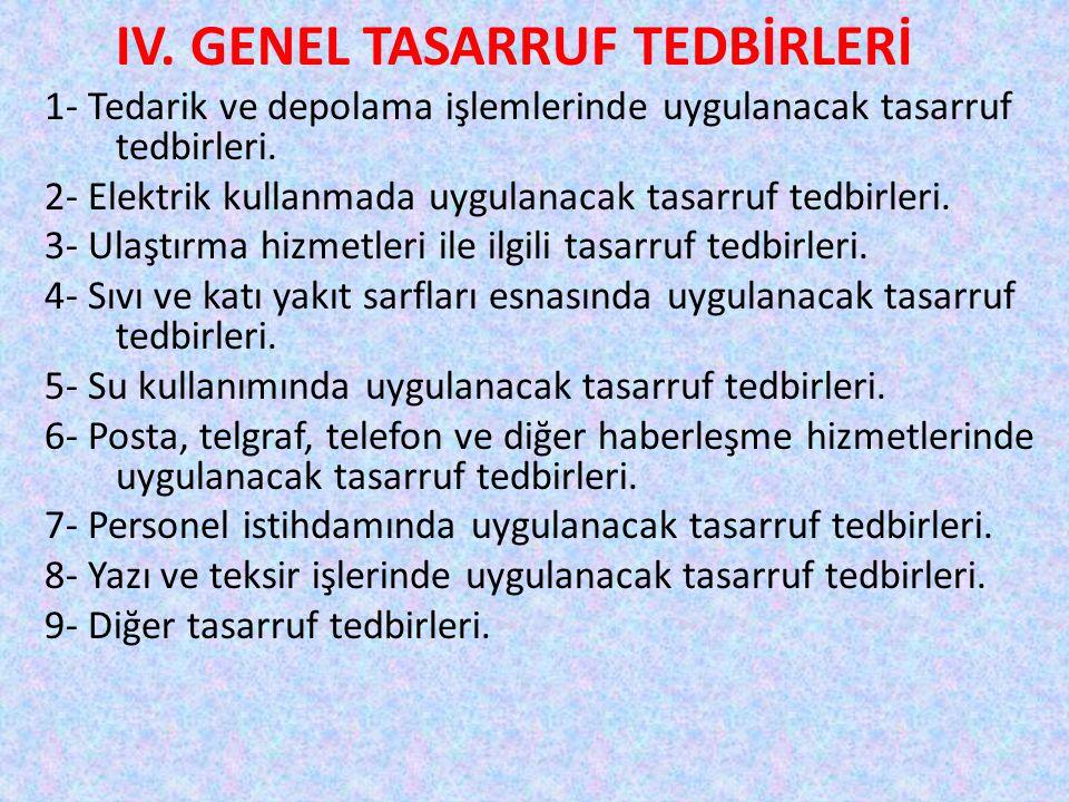 IV. GENEL TASARRUF TEDBİRLERİ 1- Tedarik ve depolama işlemlerinde uygulanacak tasarruf tedbirleri. 2- Elektrik kullanmada uygulanacak tasarruf tedbirl