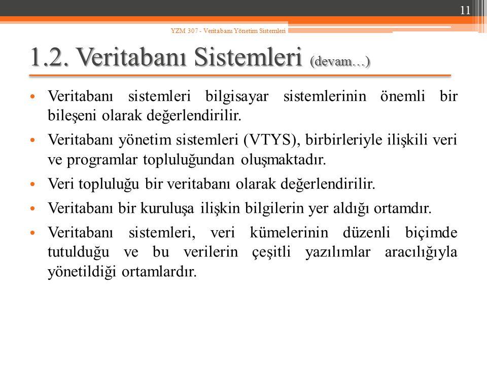 1.2. Veritabanı Sistemleri (devam…) Veritabanı sistemleri bilgisayar sistemlerinin önemli bir bileşeni olarak değerlendirilir. Veritabanı yönetim sist