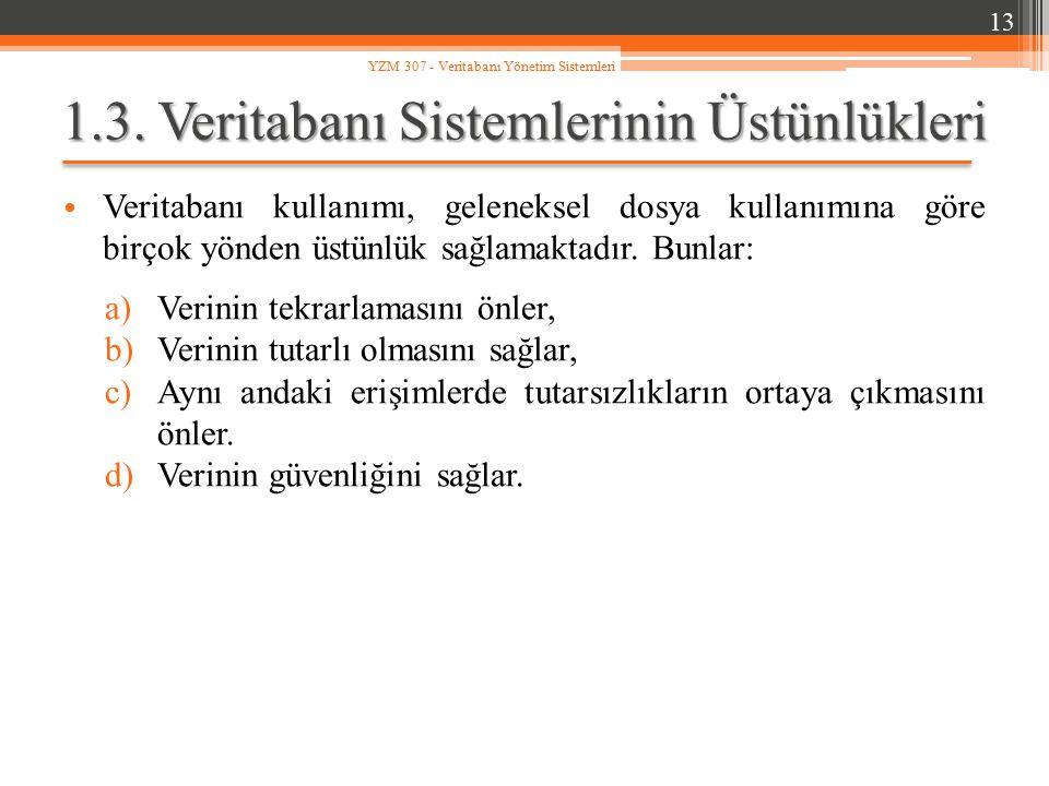1.3. Veritabanı Sistemlerinin Üstünlükleri Veritabanı kullanımı, geleneksel dosya kullanımına göre birçok yönden üstünlük sağlamaktadır. Bunlar: a)Ver