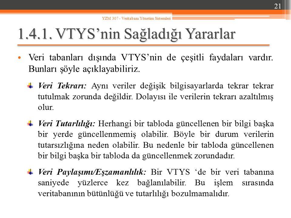 1.4.1. VTYS'nin Sağladığı Yararlar Veri tabanları dışında VTYS'nin de çeşitli faydaları vardır. Bunları şöyle açıklayabiliriz. Veri Tekrarı: Aynı veri