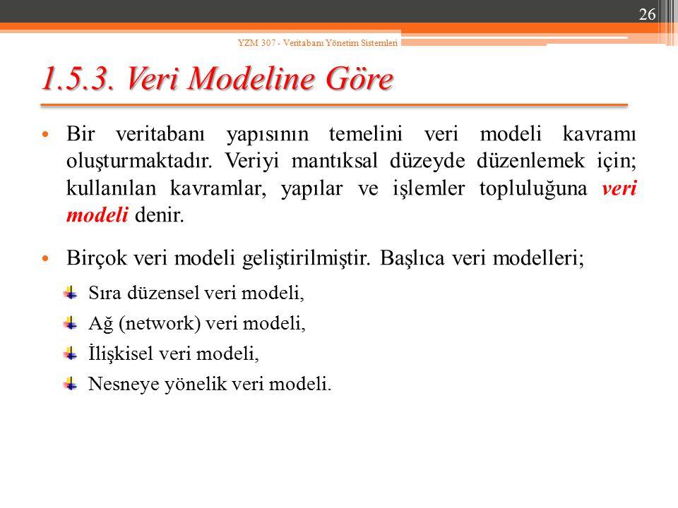 1.5.3. Veri Modeline Göre Bir veritabanı yapısının temelini veri modeli kavramı oluşturmaktadır. Veriyi mantıksal düzeyde düzenlemek için; kullanılan