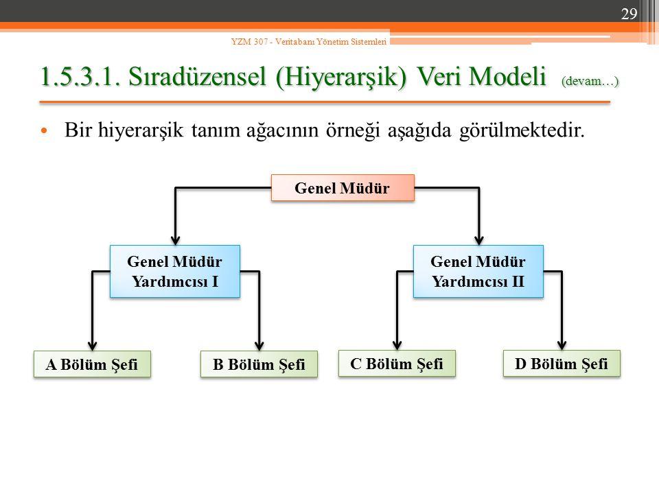 1.5.3.1. Sıradüzensel (Hiyerarşik) Veri Modeli (devam…) Bir hiyerarşik tanım ağacının örneği aşağıda görülmektedir. 29 YZM 307 - Veritabanı Yönetim Si