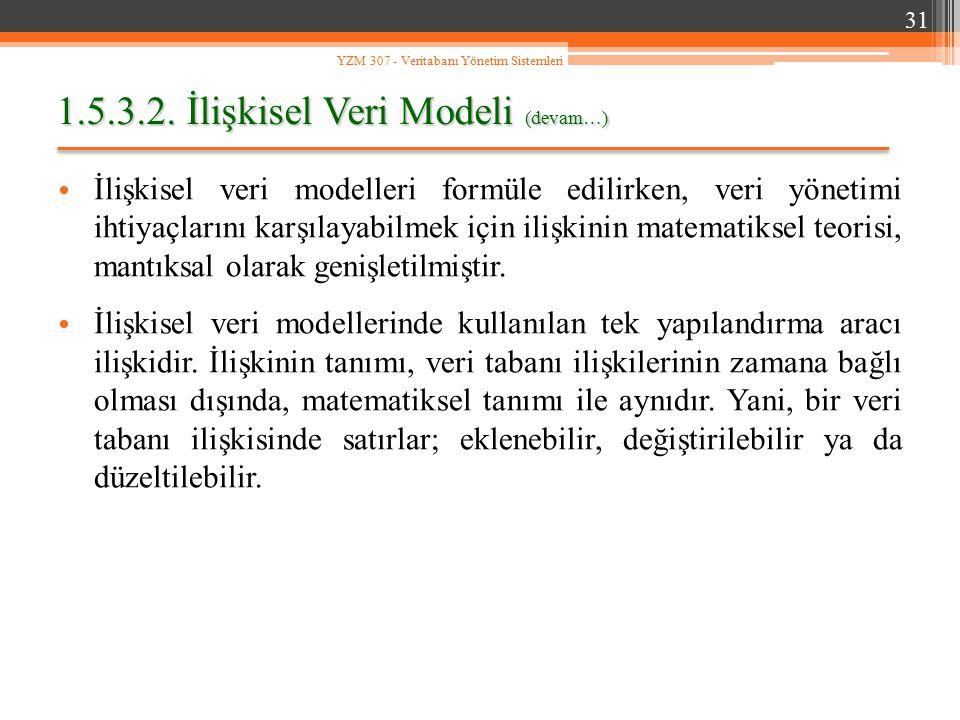 1.5.3.2. İlişkisel Veri Modeli (devam…) İlişkisel veri modelleri formüle edilirken, veri yönetimi ihtiyaçlarını karşılayabilmek için ilişkinin matemat