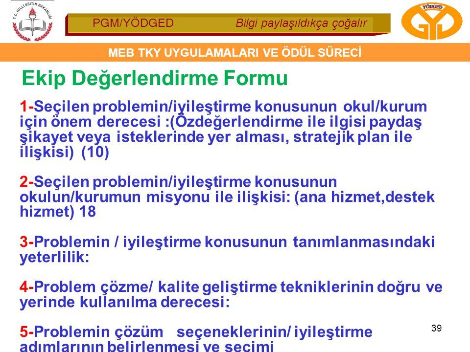 PGM/YÖDGED Bilgi paylaşıldıkça çoğalır MEB TKY UYGULAMALARI VE ÖDÜL SÜRECİ 39 Ekip Değerlendirme Formu 1-Seçilen problemin/iyileştirme konusunun okul/