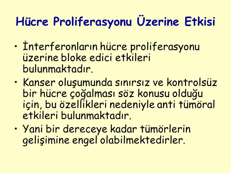 Hücre Proliferasyonu Üzerine Etkisi İnterferonların hücre proliferasyonu üzerine bloke edici etkileri bulunmaktadır.