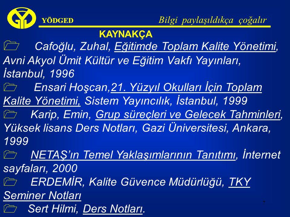 7 YÖDGED Bilgi paylaşıldıkça çoğalır KAYNAKÇA  Cafoğlu, Zuhal, Eğitimde Toplam Kalite Yönetimi, Avni Akyol Ümit Kültür ve Eğitim Vakfı Yayınları, İstanbul, 1996  Ensari Hoşcan,21.
