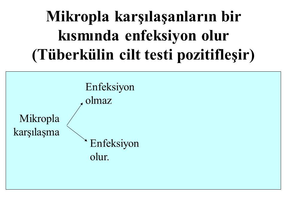 Mikropla karşılaşma Enfeksiyon olmaz Enfeksiyon olur. Mikropla karşılaşanların bir kısmında enfeksiyon olur (Tüberkülin cilt testi pozitifleşir)