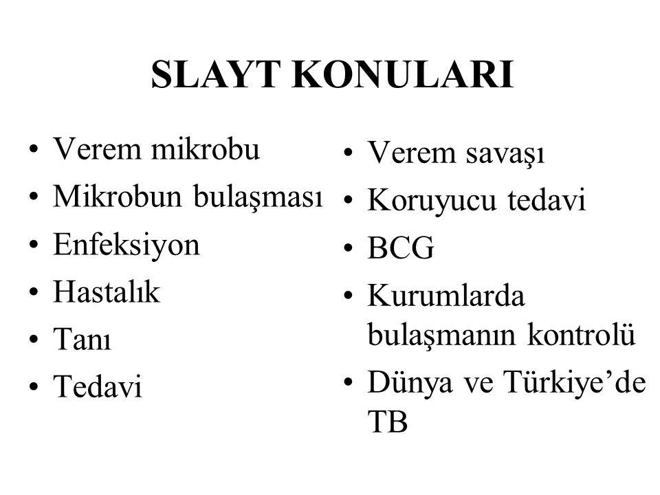 Verem mikrobu Mikrobun bulaşması Enfeksiyon Hastalık Tanı Tedavi Verem savaşı Koruyucu tedavi BCG Kurumlarda bulaşmanın kontrolü Dünya ve Türkiye'de T