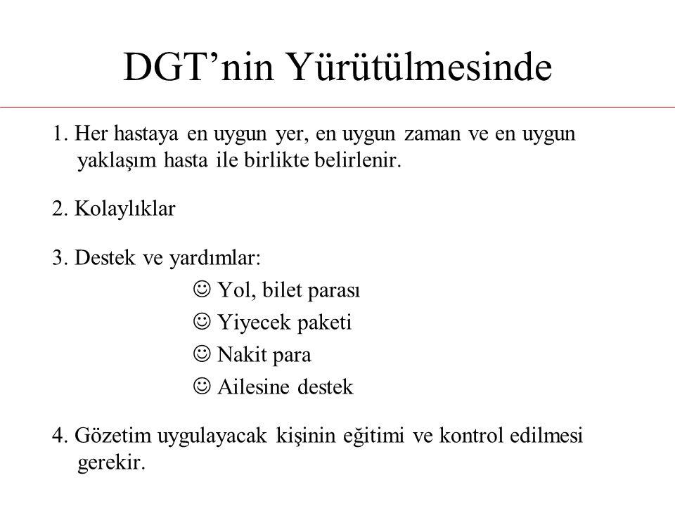 DGT'nin Yürütülmesinde 1. Her hastaya en uygun yer, en uygun zaman ve en uygun yaklaşım hasta ile birlikte belirlenir. 2. Kolaylıklar 3. Destek ve yar