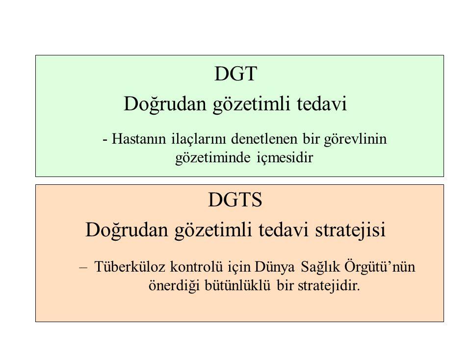 DGT Doğrudan gözetimli tedavi - Hastanın ilaçlarını denetlenen bir görevlinin gözetiminde içmesidir DGTS Doğrudan gözetimli tedavi stratejisi –Tüberkü