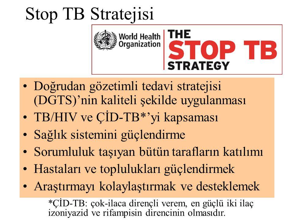 Stop TB Stratejisi Doğrudan gözetimli tedavi stratejisi (DGTS)'nin kaliteli şekilde uygulanması TB/HIV ve ÇİD-TB*'yi kapsaması Sağlık sistemini güçlen
