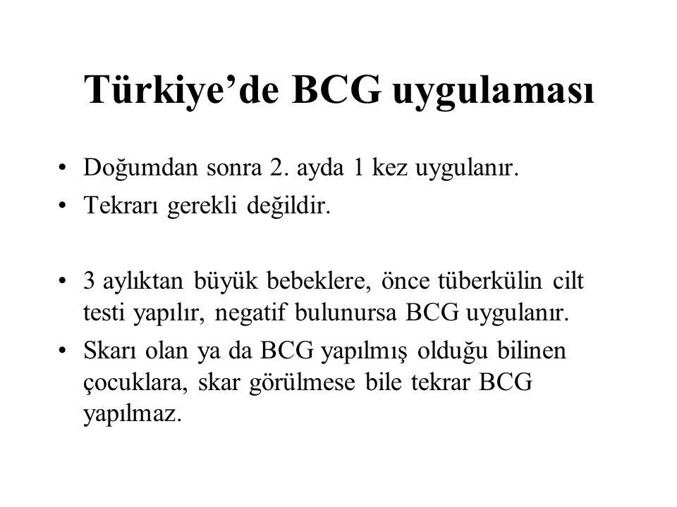 Türkiye'de BCG uygulaması Doğumdan sonra 2. ayda 1 kez uygulanır. Tekrarı gerekli değildir. 3 aylıktan büyük bebeklere, önce tüberkülin cilt testi yap