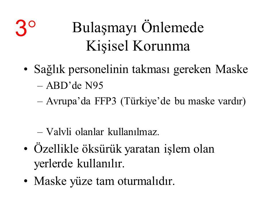 Bulaşmayı Önlemede Kişisel Korunma Sağlık personelinin takması gereken Maske –ABD'de N95 –Avrupa'da FFP3 (Türkiye'de bu maske vardır) –Valvli olanlar