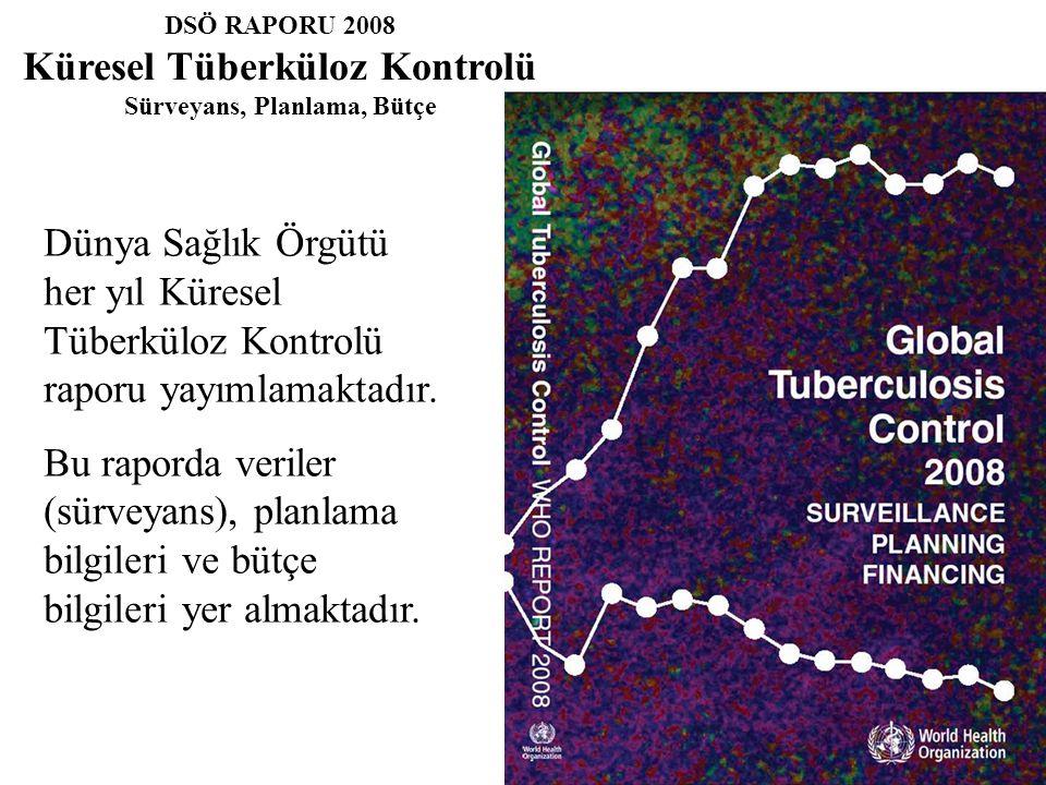 DSÖ RAPORU 2008 Küresel Tüberküloz Kontrolü Sürveyans, Planlama, Bütçe Dünya Sağlık Örgütü her yıl Küresel Tüberküloz Kontrolü raporu yayımlamaktadır.