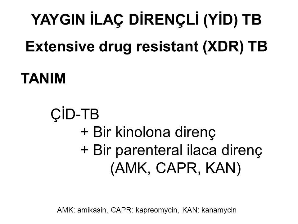 YAYGIN İLAÇ DİRENÇLİ (YİD) TB Extensive drug resistant (XDR) TB TANIM ÇİD-TB + Bir kinolona direnç + Bir parenteral ilaca direnç (AMK, CAPR, KAN) AMK: